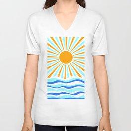 Sunburst and Waves Sun Art Print Retro Summer Decor Unisex V-Neck