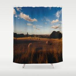 haystacks in autumn Shower Curtain