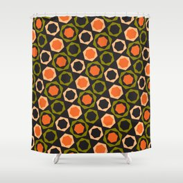 Geometric Pattern 161 (orange hexagons) Shower Curtain