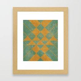 Emerald and Gold Marble Design Framed Art Print
