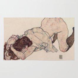 KNEELING GIRL, RESTING ON BOTH ELBOWS - EGON SCHIELE Rug