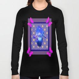 Decorative Fuchsia-Purple Butterflies Blue Iris Black Pattern Art Long Sleeve T-shirt