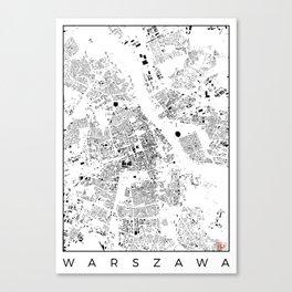 Warszawa Map Schwarzplan Only Buildings Canvas Print