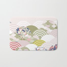 scales simple Nature background with japanese sakura flower, rosy pink Cherry, wave circle pattern Bath Mat