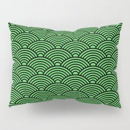 Japanese Waves (Black & Green Pattern) Pillow Sham
