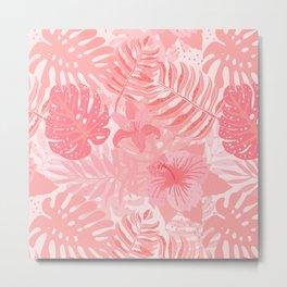 Living Coral Tropical Palm Jungle Metal Print