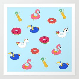 Summer pattern with cats playing in the pool Art Print