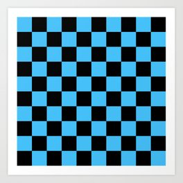 Black and Blue Checkerboard Pattern Art Print