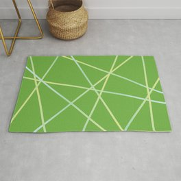 Lines 92 - lime and pale turquoise on greenery Rug