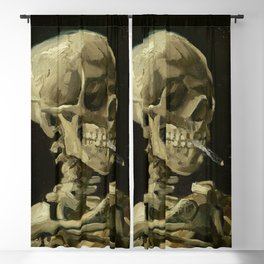 SKULL OF A SKELETON WITH BURNING CIGARETTE - VINCENT VAN GOGH Blackout Curtain