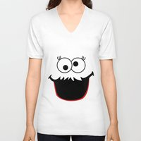 elmo V-neck T-shirts featuring Gimme Those Cookies Girl! by Alli Vanes