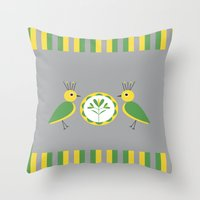 nan lawson Throw Pillows featuring Green & Yellow Nan Birds by B.D.C. Design