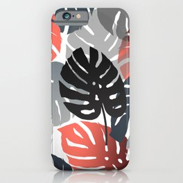 Monstera Pattern color grey orange  iPhone Case
