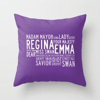 swan queen Throw Pillows featuring Swan Queen Nicknames - Purple (OUAT) by CLM Design