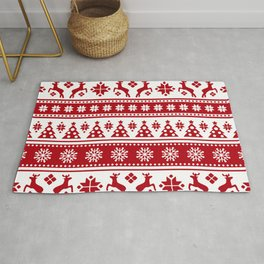 Christmas Holiday Nordic Pattern Cozy Rug