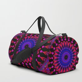 Mandala; Purple Blue and Black Duffle Bag