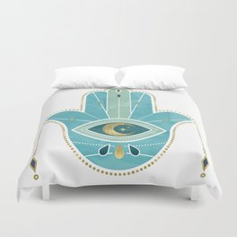 Hamsa Hand Teal Version Duvet Cover