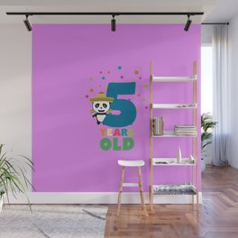 Five Years fifth Birthday Party Panda Dbknv Wall Mural