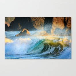 A Wave Lights Up at Sunset Canvas Print
