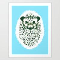 hedgehog Art Prints featuring hedgehog by barmalisiRTB