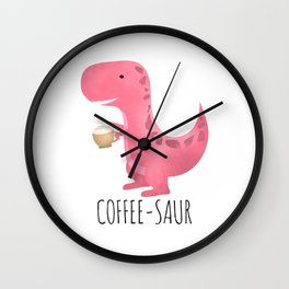 Coffee-saur | Pink Wall Clock