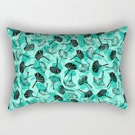 Ginkgo Biloba linocut pattern MINT GREEN Rectangular Pillow