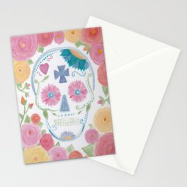 Watercolor Sugar Skull Stationery Cards