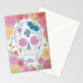 Watercolor Sugar Skull Stationery Cards