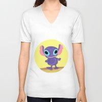 stitch V-neck T-shirts featuring stitch by Biansa Naiyananont