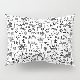 Peoples Story - Black on White Pillow Sham