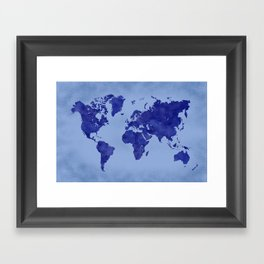 Blue map framed art prints society6 vintage and distressed blue world map framed art print gumiabroncs Image collections