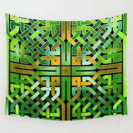 Green Celtic  Knot Square Wall Tapestry