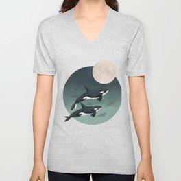 moonlight caravan // orcas Unisex V-Neck