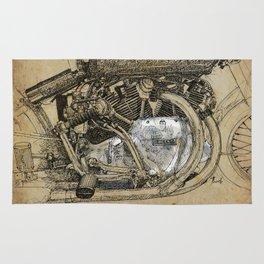 Vincent motorcycle engine motor detail, vintage color, gift for men Rug