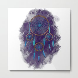 Dreamcatcher Turquoise: Purple background Metal Print