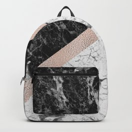 Monochrome marble designer - rose gold Backpack