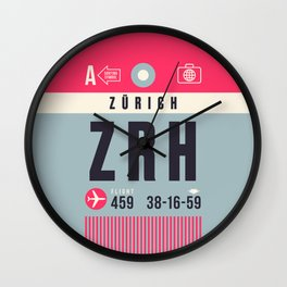 Baggage Tag A - ZRH Zurich Kloten Switzerland Wall Clock