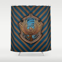 ravenclaw Shower Curtains featuring Hogwarts House Crest - Ravenclaw Book by Teo Hoble