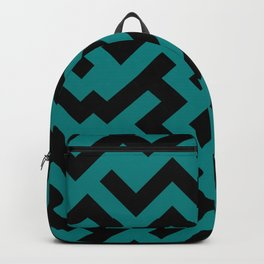 Black and Teal Green Diagonal Labyrinth Backpack
