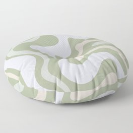 Liquid Swirl Contemporary Abstract Pattern in Light Sage Green Floor Pillow