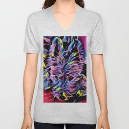 Please?  Westie Neon Portrait (Toby Collection) Unisex V-Neck