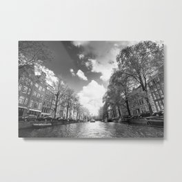 View from a boat in Amsterdam canal Metal Print