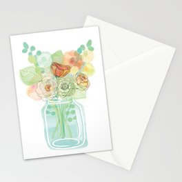 Mason Jar Flowers Stationery Cards