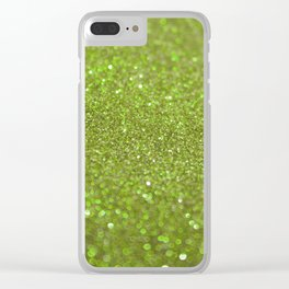 Bright Lime Glitter Clear iPhone Case