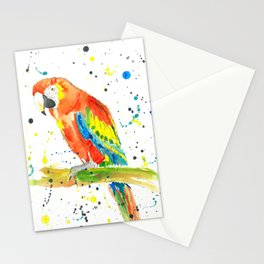Parrot (Scarlet Macaw) - Watercolor Painting Print Stationery Cards