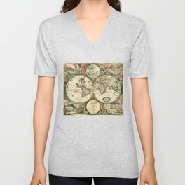 Old map of world hemispheres. Created by Frederick De Wit, 1668 Unisex V-Neck