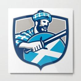 Highlander Scotsman Sword Shield Retro Metal Print