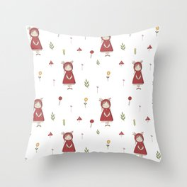 Little Red Riding Hood Girl with Antlers Throw Pillow