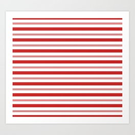 Red and White Candy Cane Stripes Thick and Thin Horizontal Lines, Festive Christmas Art Print