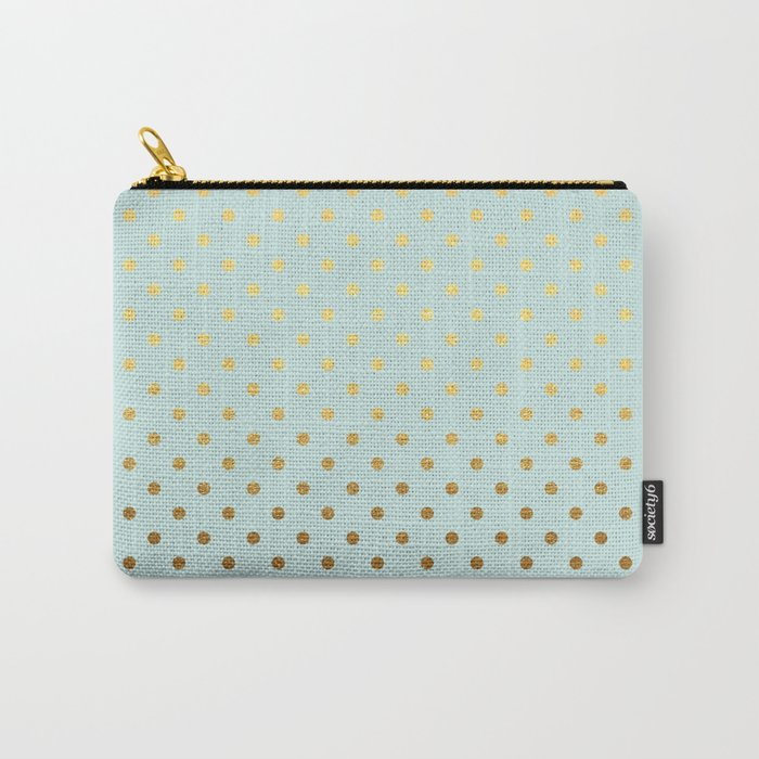 Gold polka dots on aqua background - Luxury turquoise pattern #Society6 Carry-All Pouch